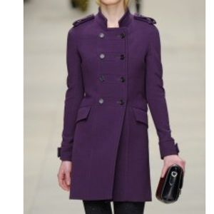 Burberry Prorsum runway military coat in purple